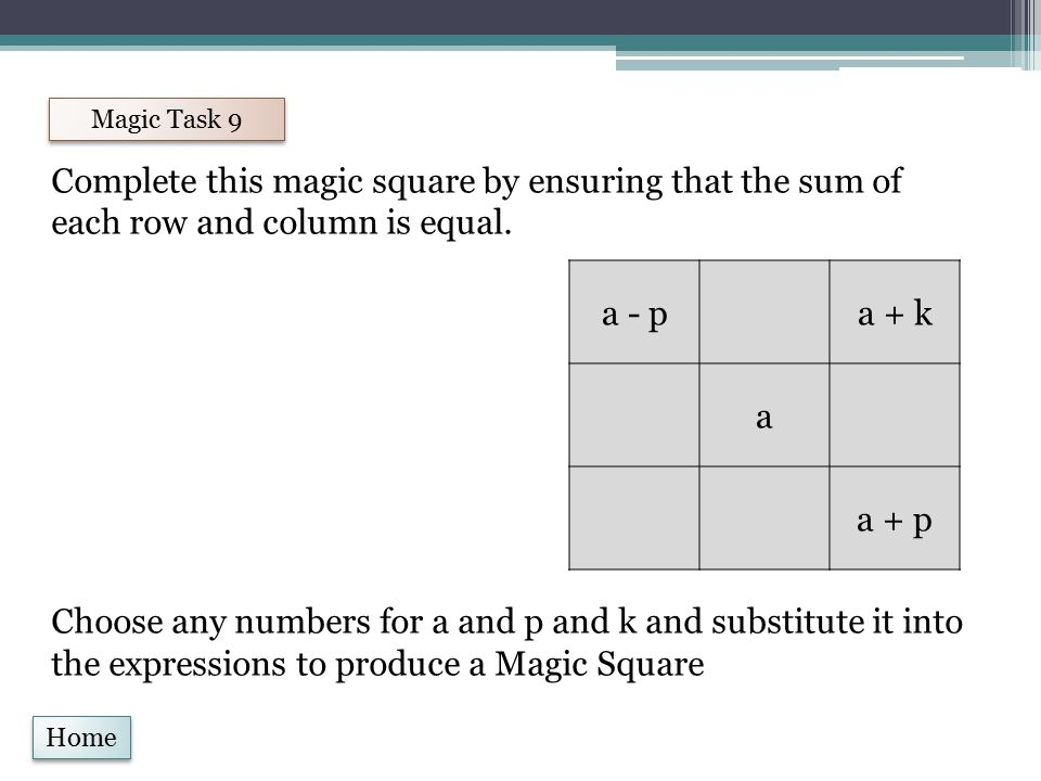 Home Magic Task 9 Complete this magic square by ensuring that the sum of each row and column is equal.