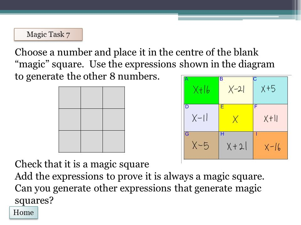 Home Magic Task 8 Complete this magic square by ensuring that the sum of each row and column and diagonal is equal.