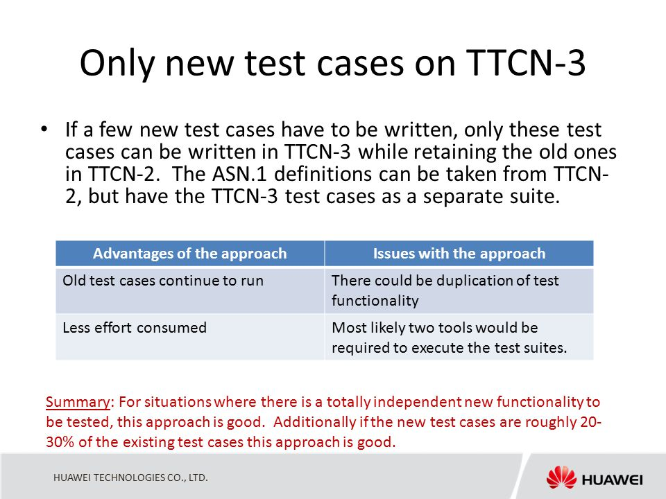 HUAWEI TECHNOLOGIES CO., LTD. Only new test cases on TTCN-3 If a few new test cases have to be written, only these test cases can be written in TTCN-3