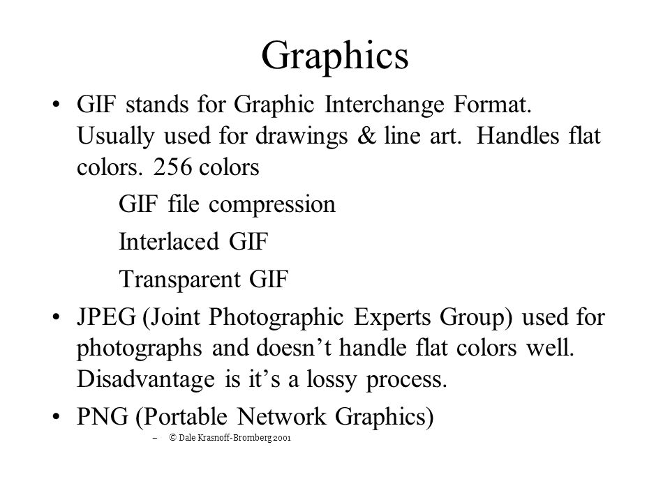 Graphics GIF stands for Graphic Interchange Format.
