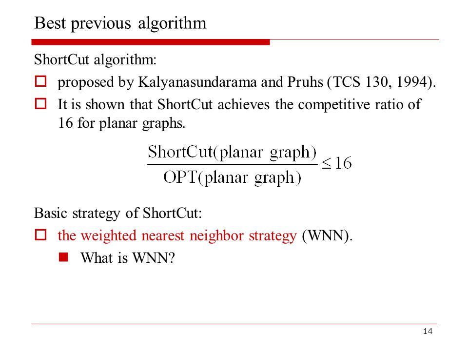 14 Best previous algorithm ShortCut algorithm:  proposed by Kalyanasundarama and Pruhs (TCS 130, 1994).