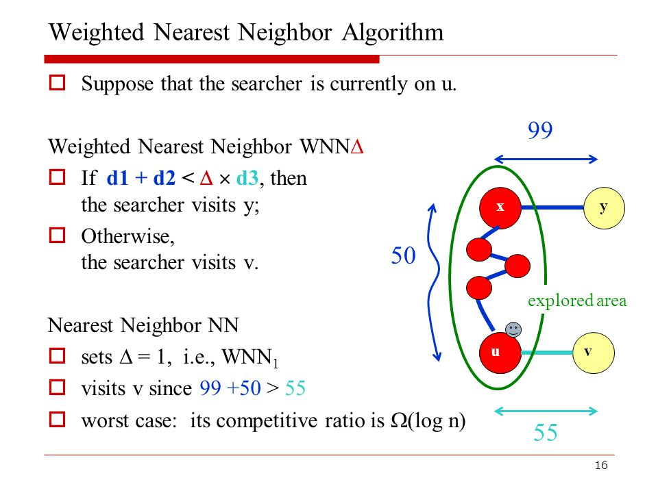 16 Weighted Nearest Neighbor Algorithm  Suppose that the searcher is currently on u.