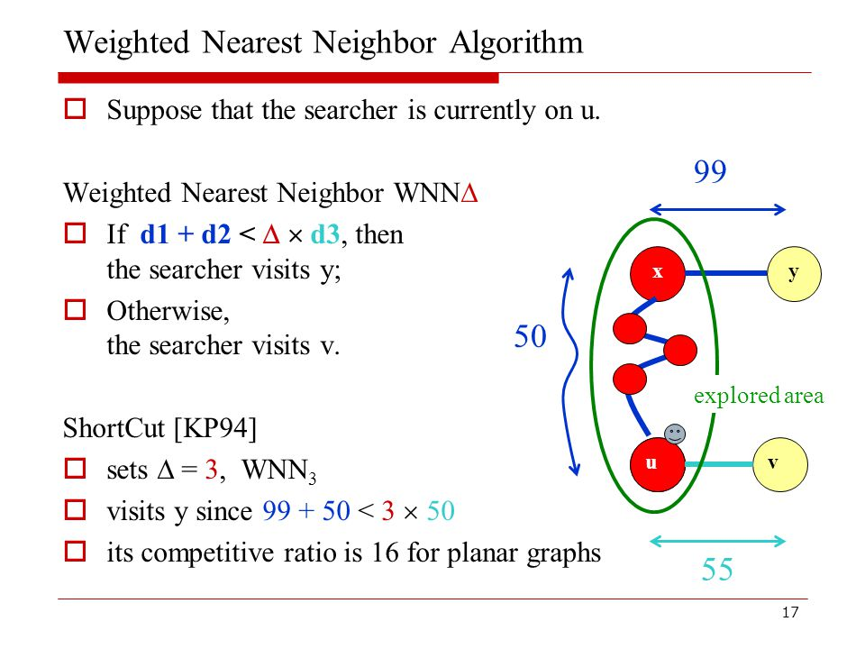 17 Weighted Nearest Neighbor Algorithm  Suppose that the searcher is currently on u.