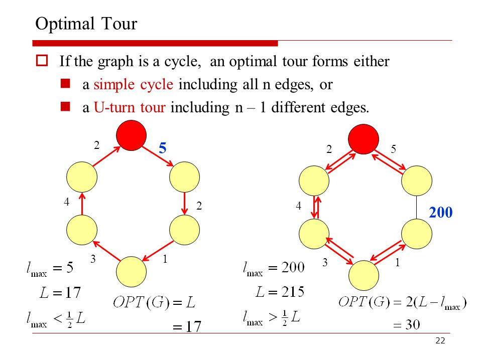 22 Optimal Tour  If the graph is a cycle, an optimal tour forms either a simple cycle including all n edges, or a U-turn tour including n – 1 different edges.
