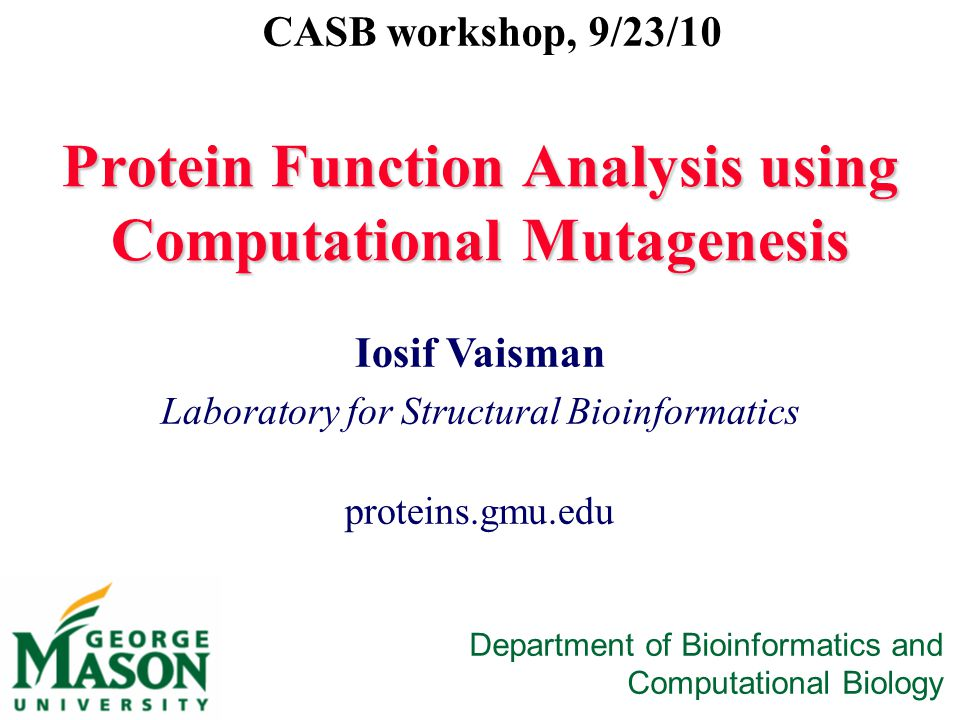 Protein Function Analysis using Computational Mutagenesis Iosif Vaisman Laboratory for Structural Bioinformatics proteins.gmu.edu CASB workshop, 9/23/