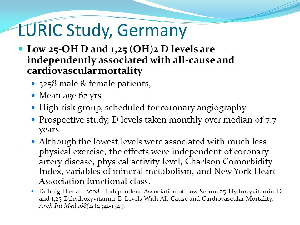 LURIC Study, Germany Low 25-OH D and 1,25 (OH)2 D levels are independently associated with all-cause and cardiovascular mortality 3258 male & female p