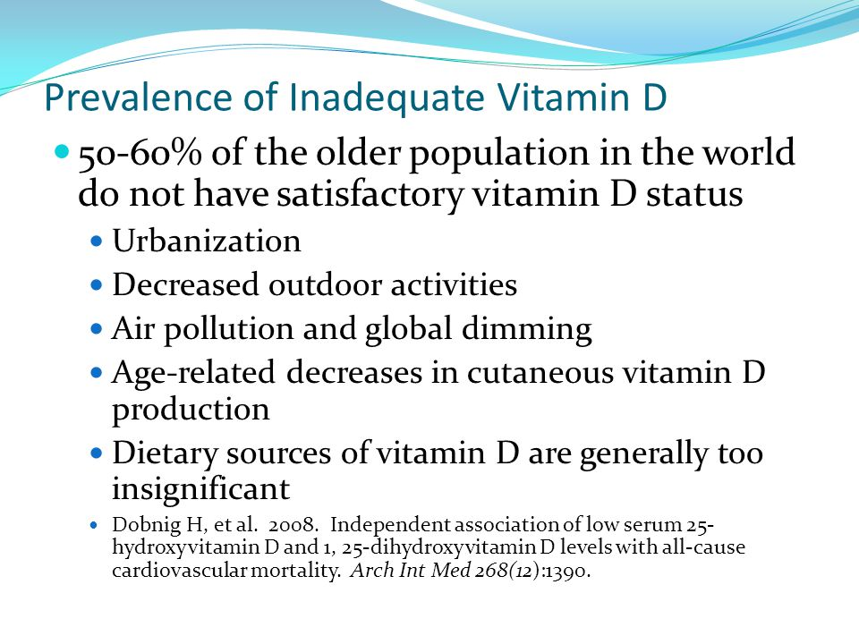 Prevalence of Inadequate Vitamin D 50-60% of the older population in the world do not have satisfactory vitamin D status Urbanization Decreased outdoo