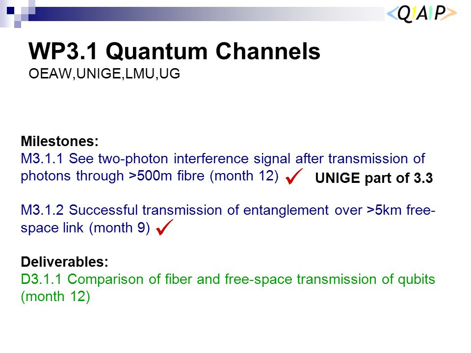WP3.1 Quantum Channels OEAW,UNIGE,LMU,UG Milestones: M3.1.1 See two-photon interference signal after transmission of photons through >500m fibre (mont