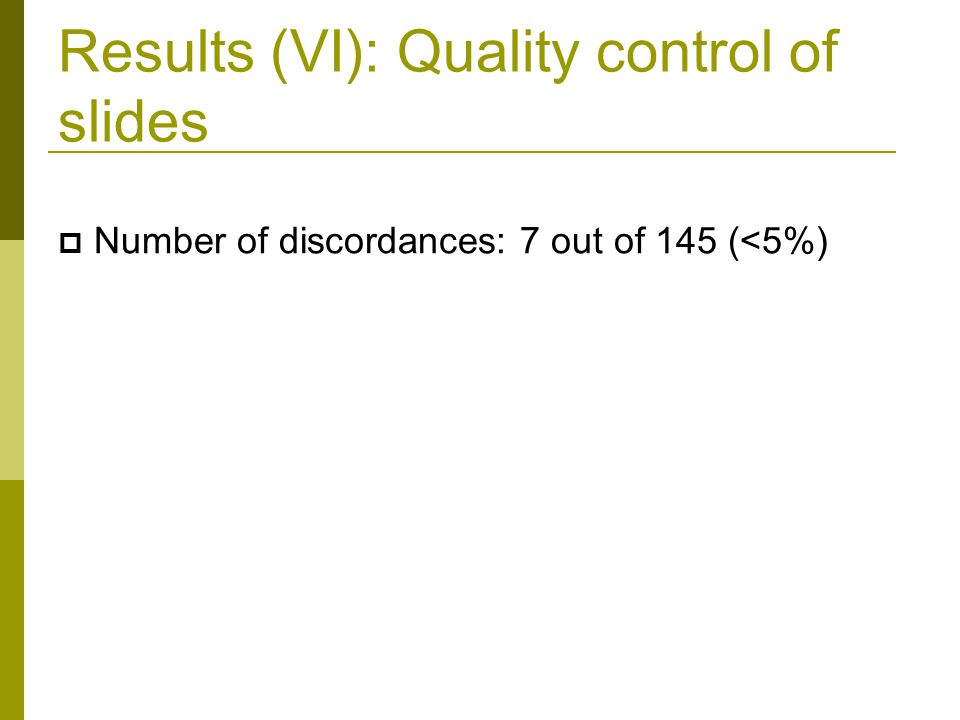 Results (VI): Quality control of slides  Number of discordances: 7 out of 145 (<5%)