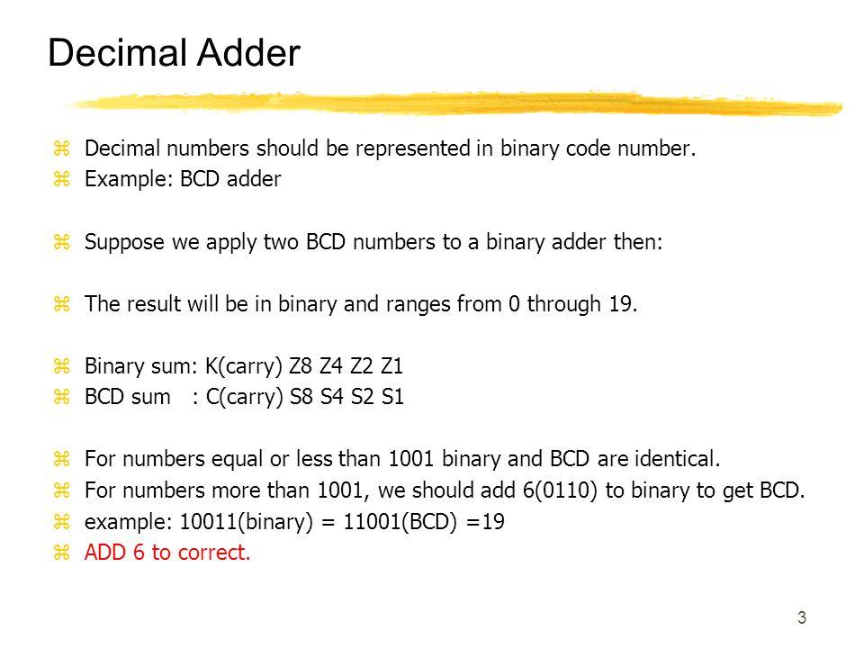 3 Decimal Adder zDecimal numbers should be represented in binary code number.