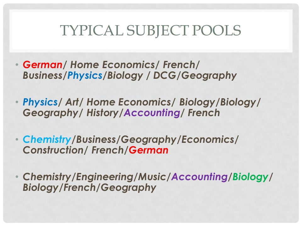 TYPICAL SUBJECT POOLS German/ Home Economics/ French/ Business/Physics/Biology / DCG/Geography Physics/ Art/ Home Economics/ Biology/Biology/ Geograph