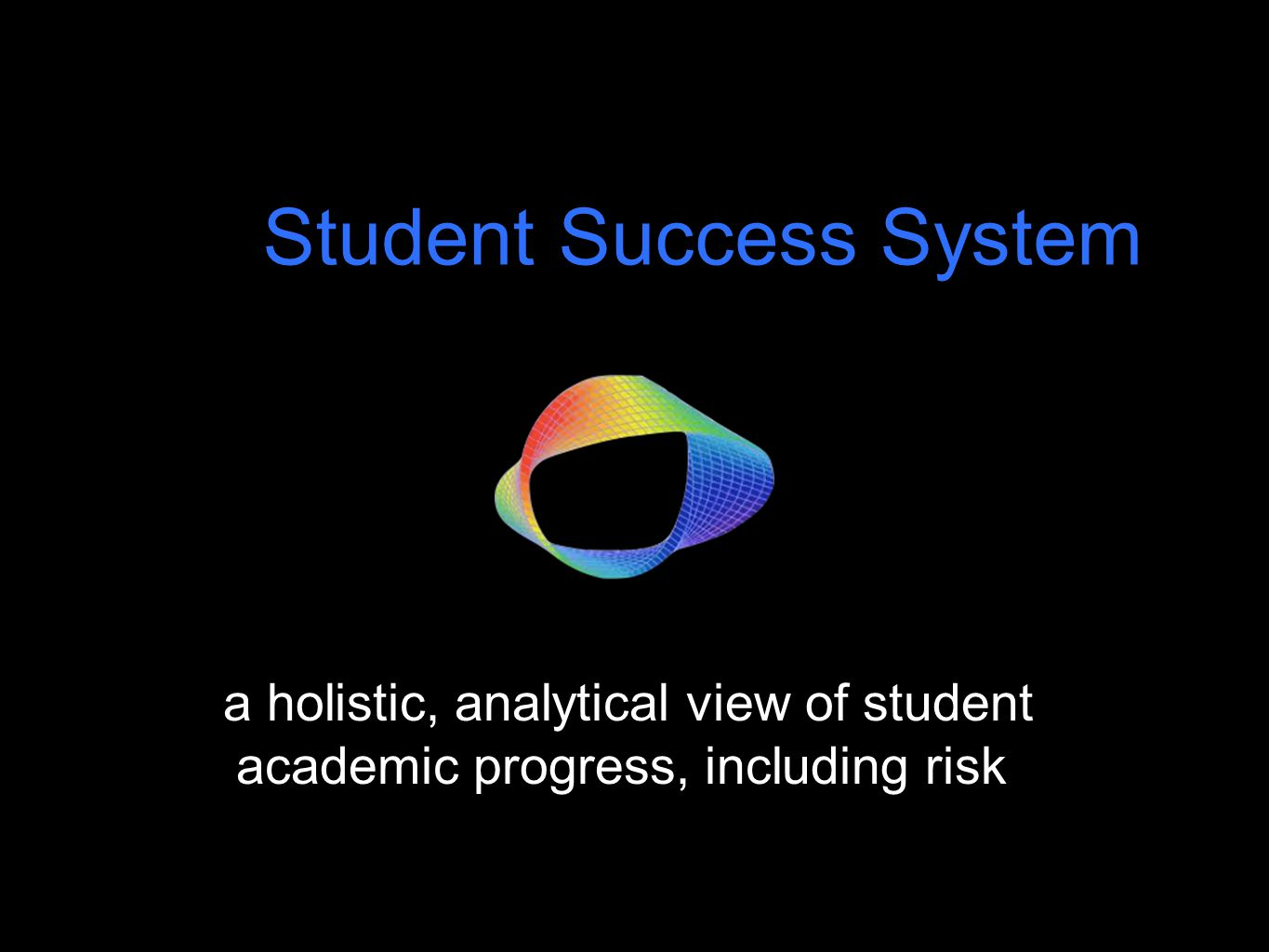 a holistic, analytical view of student academic progress, including risk Student Success System