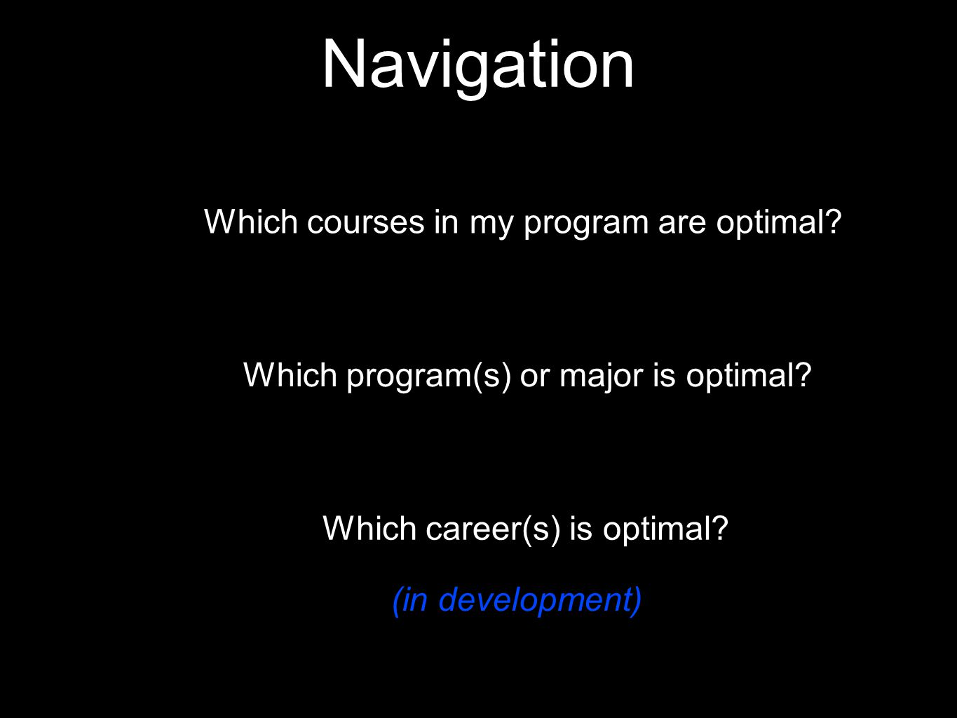 Which courses in my program are optimal. Which program(s) or major is optimal.