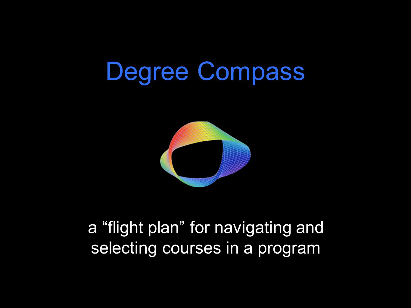 a flight plan for navigating and selecting courses in a program Degree Compass