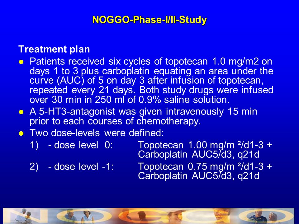 Treatment plan l Patients received six cycles of topotecan 1.0 mg/m2 on days 1 to 3 plus carboplatin equating an area under the curve (AUC) of 5 on da