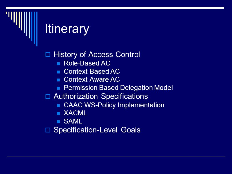 Itinerary  History of Access Control Role-Based AC Context-Based AC Context-Aware AC Permission Based Delegation Model  Authorization Specifications