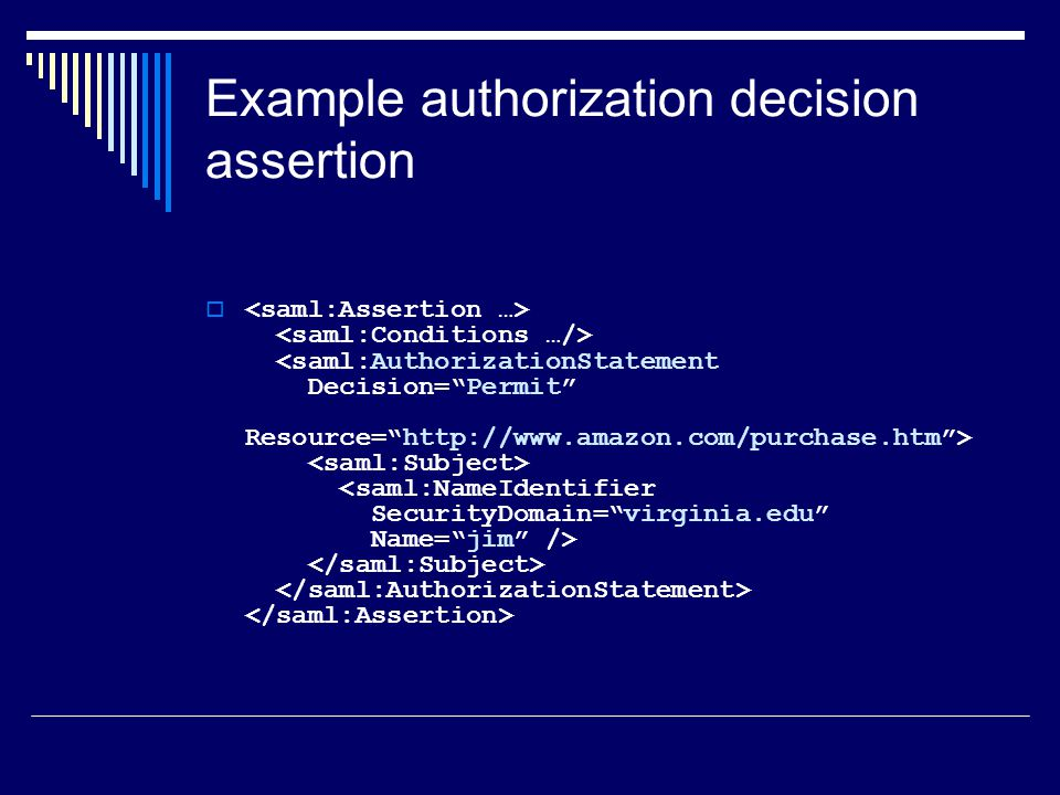 Example authorization decision assertion 