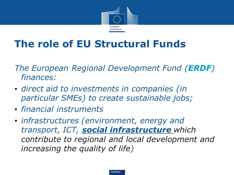 The role of EU Structural Funds The European Regional Development Fund (ERDF) finances: direct aid to investments in companies (in particular SMEs) to create sustainable jobs; financial instruments infrastructures (environment, energy and transport, ICT, social infrastructure which contribute to regional and local development and increasing the quality of life)
