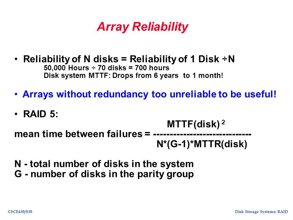 Disk Storage Systems: RAIDCSCE430/830 Single disk failure tolerant array