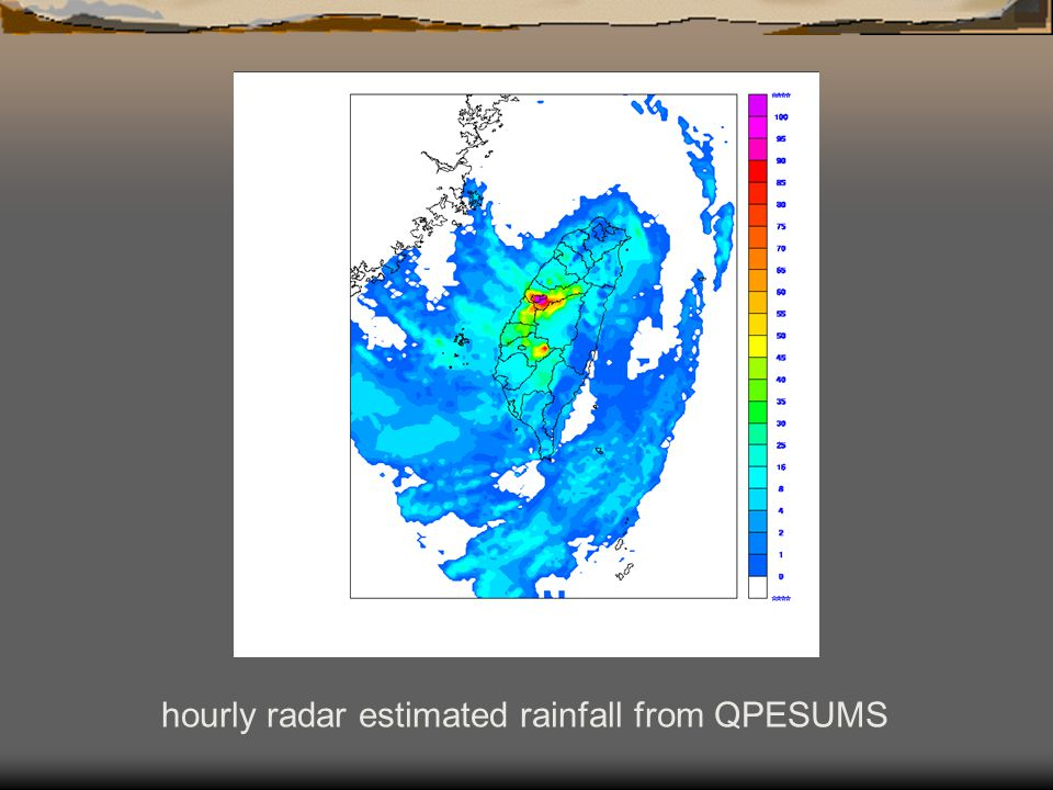 hourly radar estimated rainfall from QPESUMS