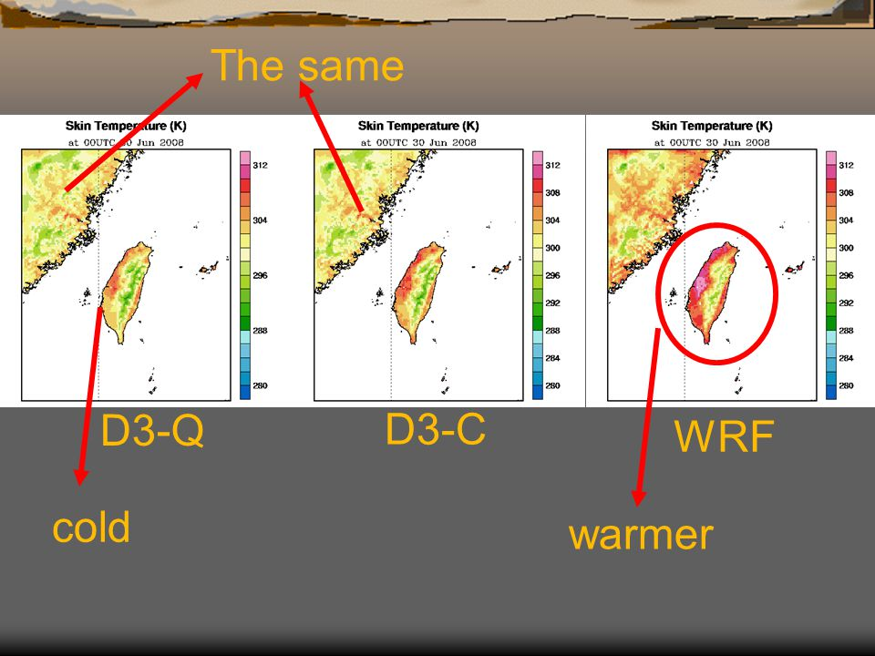 D3-Q D3-C WRF The same warmer cold