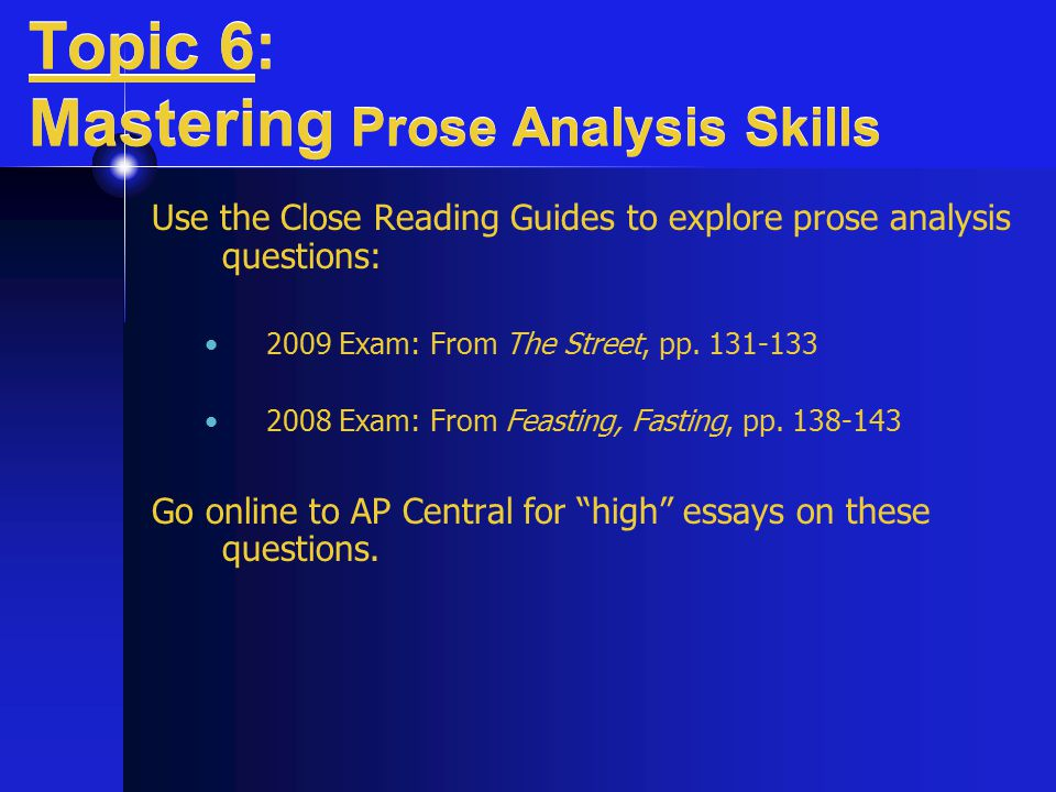 Prose Outline Example Form