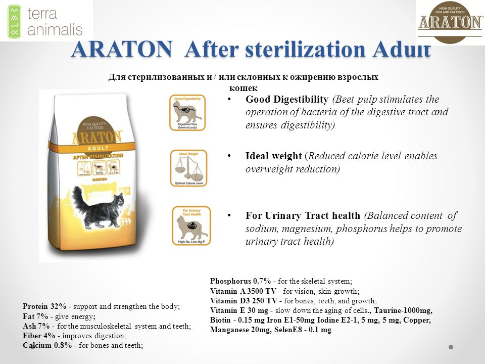 ARATON After sterilization Adult Good Digestibility (Beet pulp stimulates the operation of bacteria of the digestive tract and ensures digestibility) Ideal weight (Reduced calorie level enables overweight reduction) For Urinary Tract health (Balanced content of sodium, magnesium, phosphorus helps to promote urinary tract health) Для стерилизованных и / или склонных к ожирению взрослых кошек Protein 32% - support and strengthen the body; Fat 7% - give energy; Ash 7% - for the musculoskeletal system and teeth; Fiber 4% - improves digestion; Calcium 0.8% - for bones and teeth; Phosphorus 0.7% - for the skeletal system; Vitamin A 3500 TV - for vision, skin growth; Vitamin D3 250 TV - for bones, teeth, and growth; Vitamin E 30 mg - slow down the aging of cells., Taurine-1000mg, Biotin - 0.15 mg Iron E1-50mg Iodine E2-1, 5 mg, 5 mg, Copper, Manganese 20mg, SelenE8 - 0.1 mg
