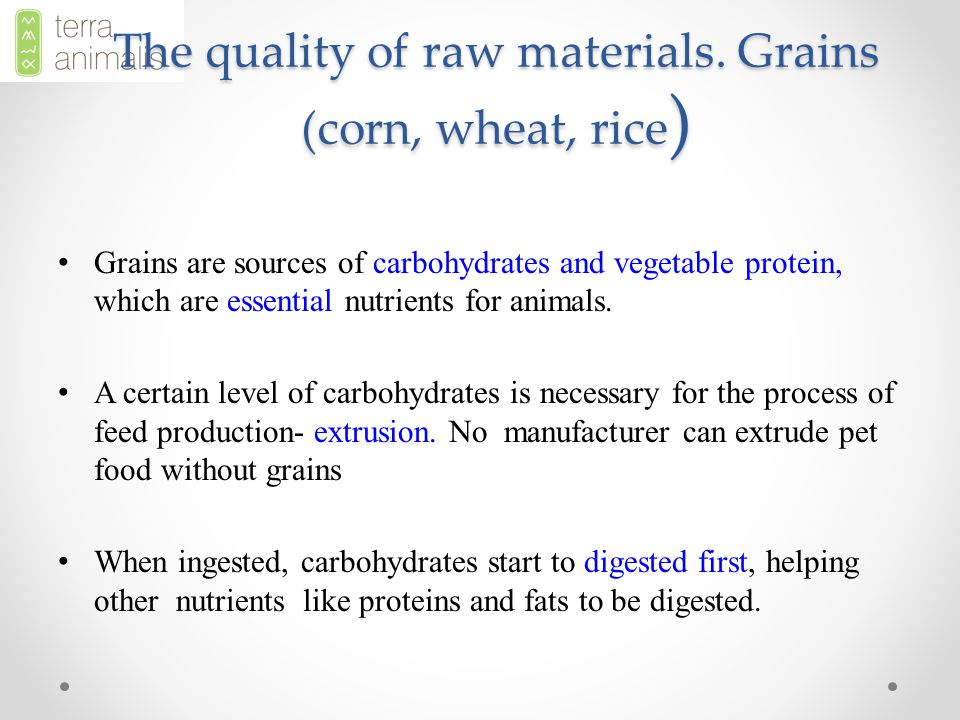 Grains are sources of carbohydrates and vegetable protein, which are essential nutrients for animals.