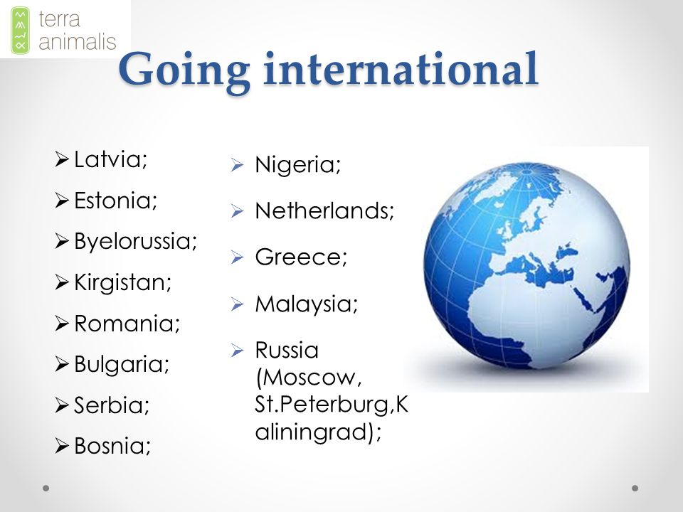 Going international  Latvia;  Estonia;  Byelorussia;  Kirgistan;  Romania;  Bulgaria;  Serbia;  Bosnia;  Nigeria;  Netherlands;  Greece;  Malaysia;  Russia (Moscow, St.Peterburg,K aliningrad);