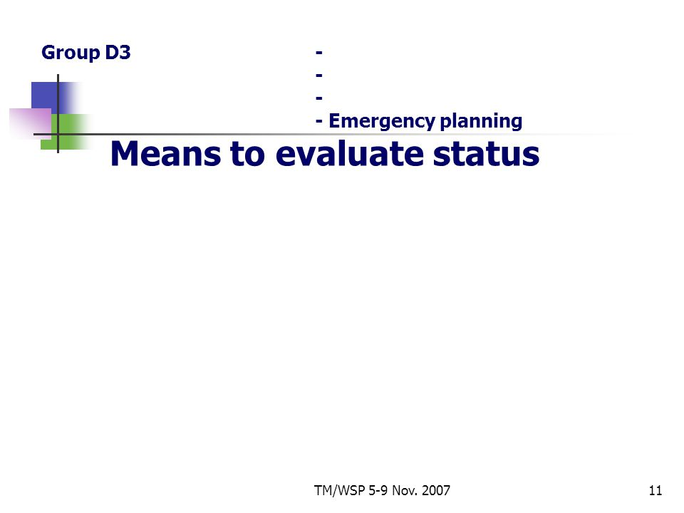 TM/WSP 5-9 Nov. 200711 Group D3- - - - Emergency planning Means to evaluate status