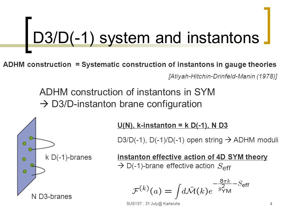 5 D3/D(-1) with self-dual R-R 3-form bkg.(N=2 graviphoton bkg.