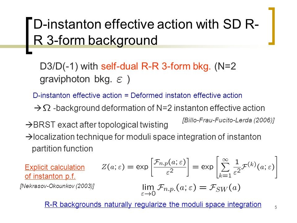 5 D3/D(-1) with self-dual R-R 3-form bkg. (N=2 graviphoton bkg.