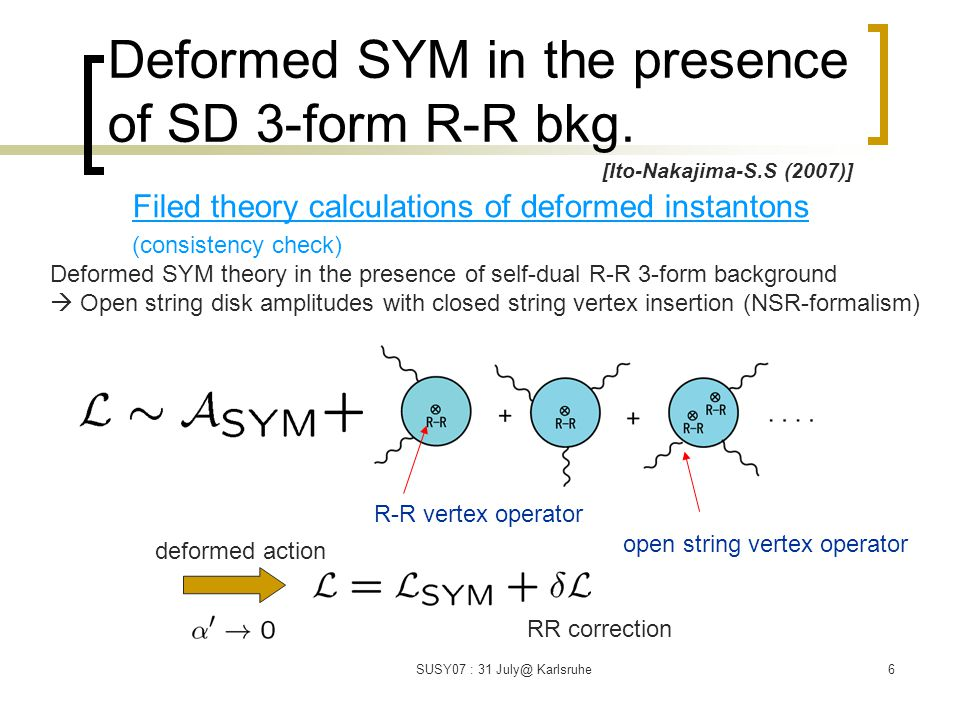 SUSY07 : 31 July@ Karlsruhe6 Deformed SYM in the presence of SD 3-form R-R bkg.