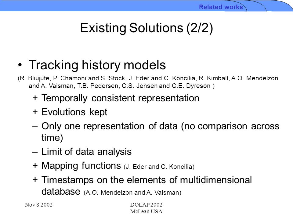 Nov 8 2002DOLAP 2002 McLean USA Existing Solutions (2/2) Related works Tracking history models (R. Bliujute, P. Chamoni and S. Stock, J. Eder and C. K
