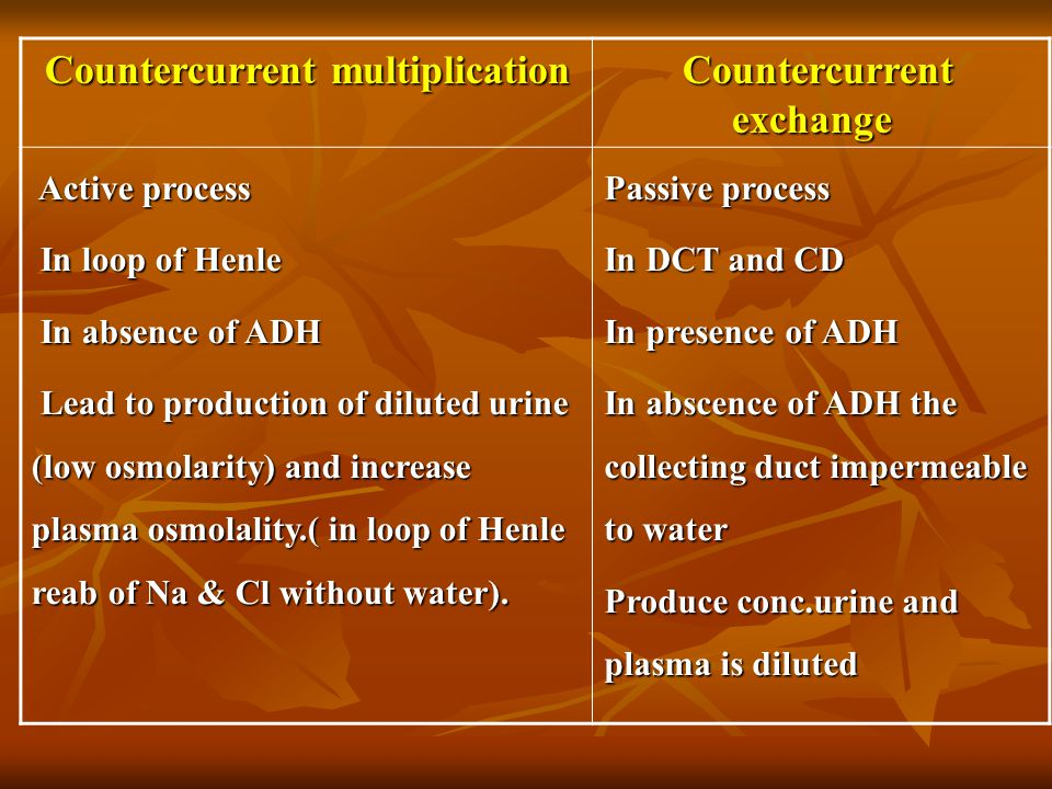 Countercurrent exchange Countercurrent multiplication Passive process In DCT and CD In presence of ADH In abscence of ADH the collecting duct impermea