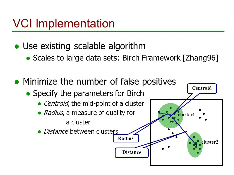 VCI Implementation l Use existing scalable algorithm l Scales to large data sets: Birch Framework [Zhang96] l Minimize the number of false positives l Specify the parameters for Birch l Centroid, the mid-point of a cluster l Radius, a measure of quality for a cluster l Distance between clusters Centroid Radius Distance cluster1 cluster2