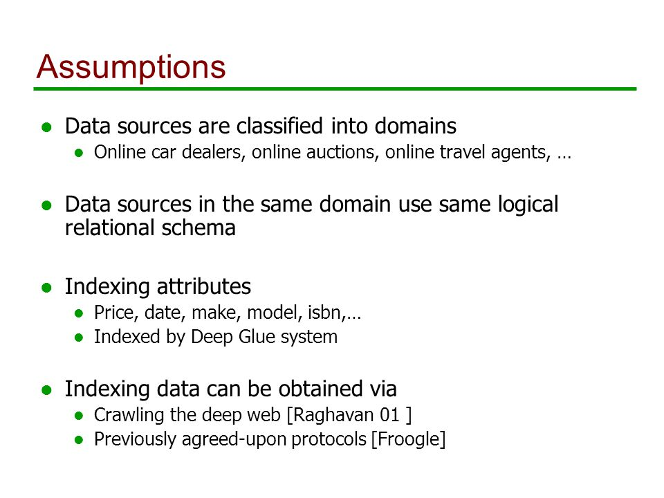 Assumptions l Data sources are classified into domains l Online car dealers, online auctions, online travel agents, … l Data sources in the same domain use same logical relational schema l Indexing attributes l Price, date, make, model, isbn,… l Indexed by Deep Glue system l Indexing data can be obtained via l Crawling the deep web [Raghavan 01 ] l Previously agreed-upon protocols [Froogle]