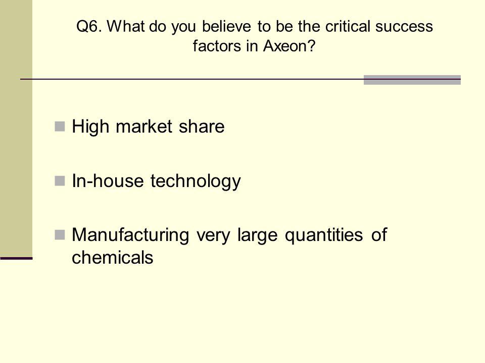 Q6. What do you believe to be the critical success factors in Axeon? High market share In-house technology Manufacturing very large quantities of chem