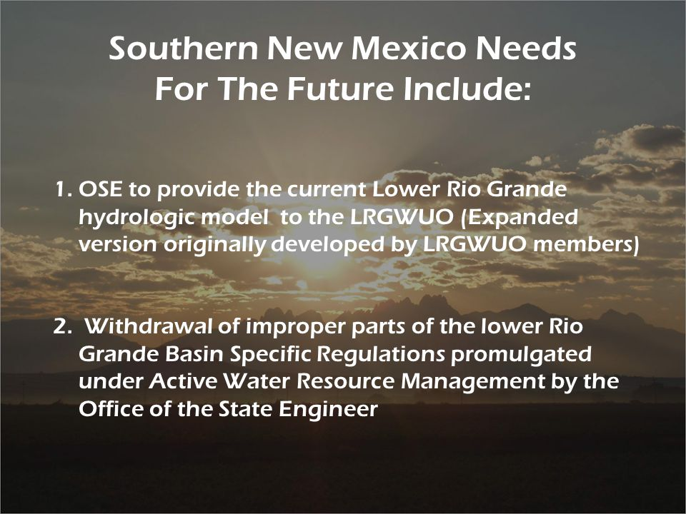 29 Southern New Mexico Needs For The Future Include: 1.OSE to provide the current Lower Rio Grande hydrologic model to the LRGWUO (Expanded version originally developed by LRGWUO members) 2.