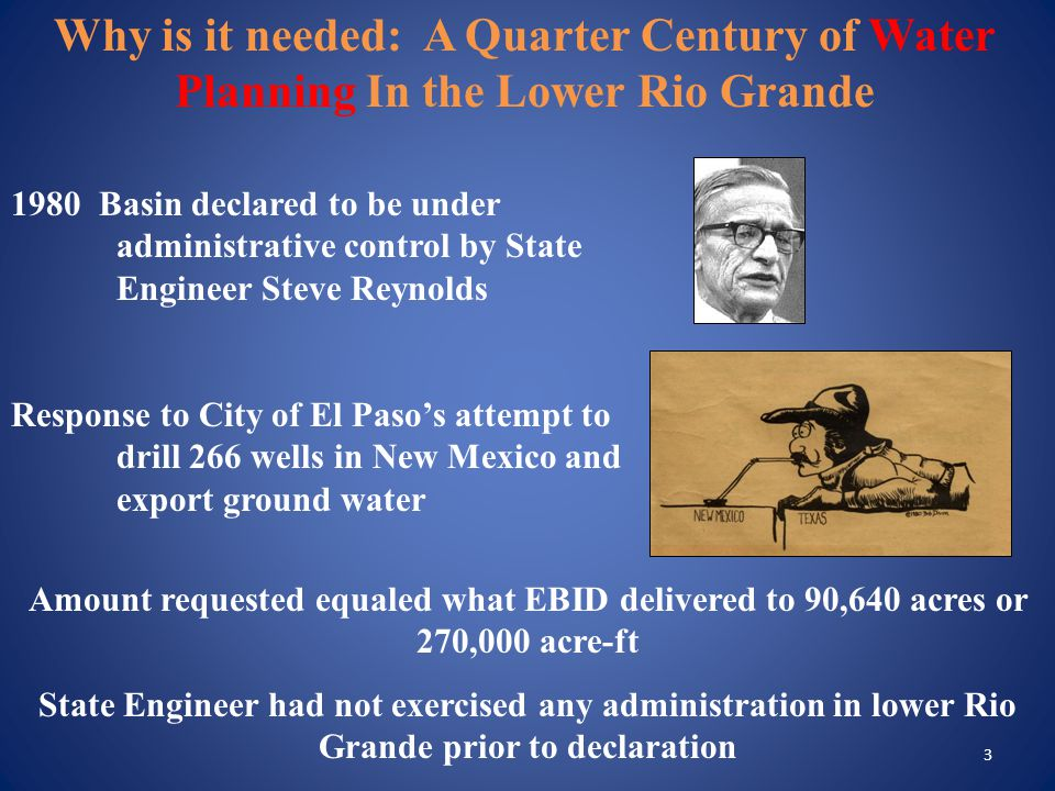 4 1.State Engineer formed legal team 2. Governor's office formed a Water Law Study Committee 3.