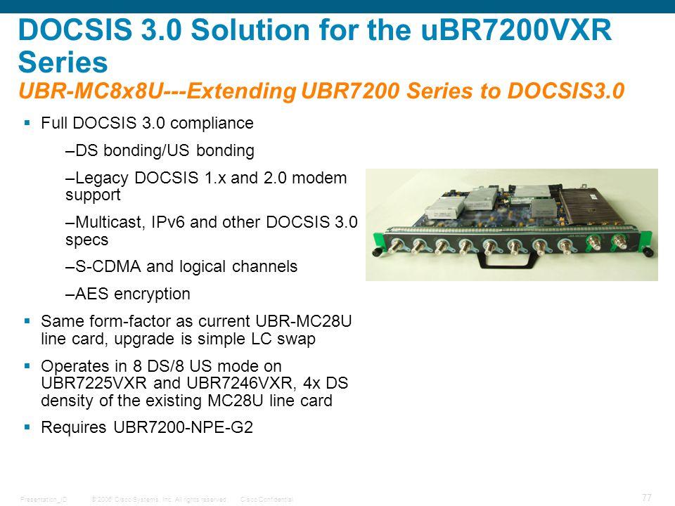 © 2006 Cisco Systems, Inc. All rights reserved.Cisco ConfidentialPresentation_ID 77 DOCSIS 3.0 Solution for the uBR7200VXR Series UBR-MC8x8U---Extendi