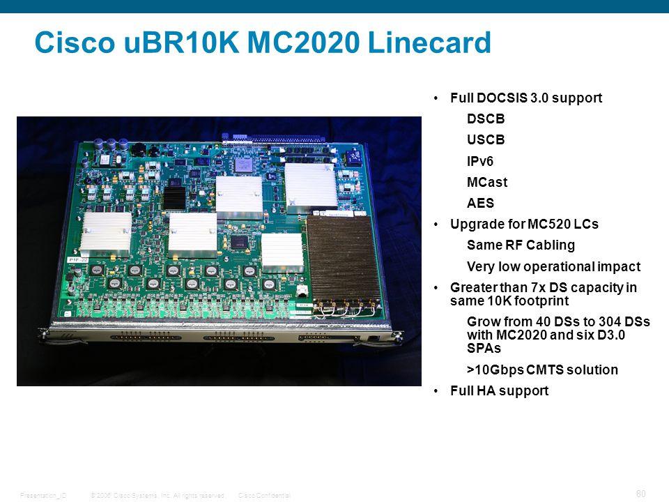 © 2006 Cisco Systems, Inc. All rights reserved.Cisco ConfidentialPresentation_ID 80 Cisco uBR10K MC2020 Linecard Full DOCSIS 3.0 support DSCB USCB IPv