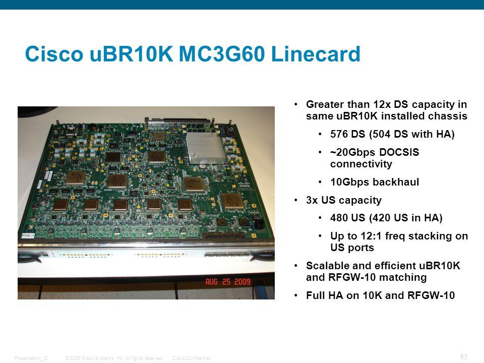© 2006 Cisco Systems, Inc. All rights reserved.Cisco ConfidentialPresentation_ID 83 uBR10K Cisco uBR10K MC3G60 Linecard MC3G60 RFGW-10 MC3G60 US DS Gr