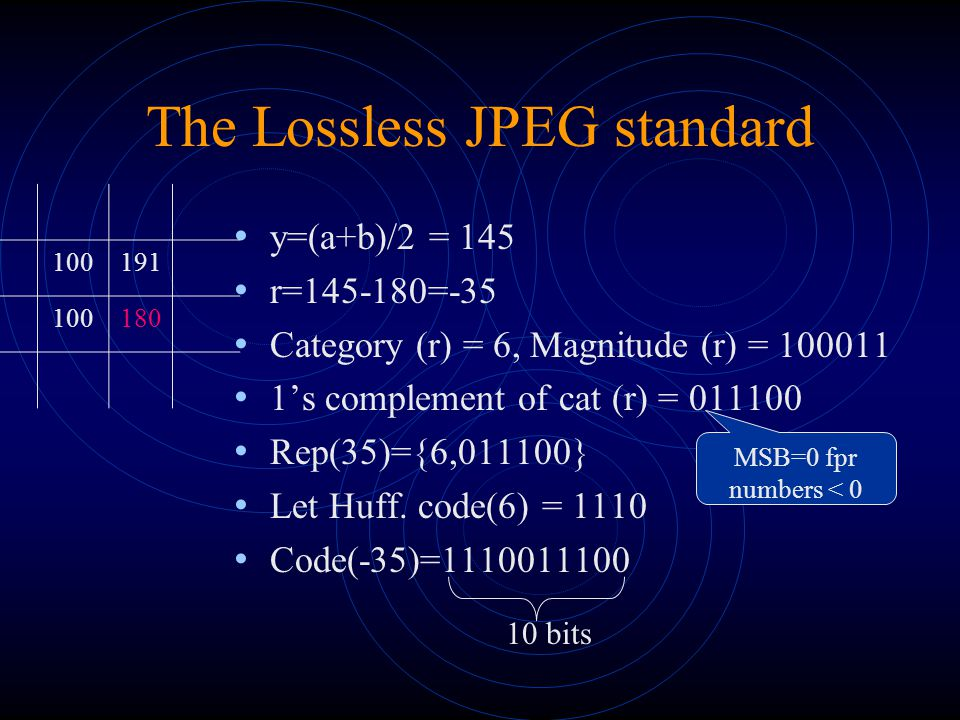 The JPEG-LS standard Loco project (http://www.hpl.hp.com/loco/) Loco project Near-lossless encoding decoder output does not differ from the input by no more than a pre-specified value JPEG-LS coder Context modeling – encoding of a pixel depends on the previous pixels Run-length encoder – for smooth parts of the image Predictor – like in the lossless JPEG scheme Error Coder – to reconstruct the difference between the prediction and the signal
