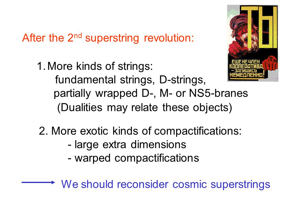 After the 2 nd superstring revolution: 1.More kinds of strings: fundamental strings, D-strings, partially wrapped D-, M- or NS5-branes 2. More exotic