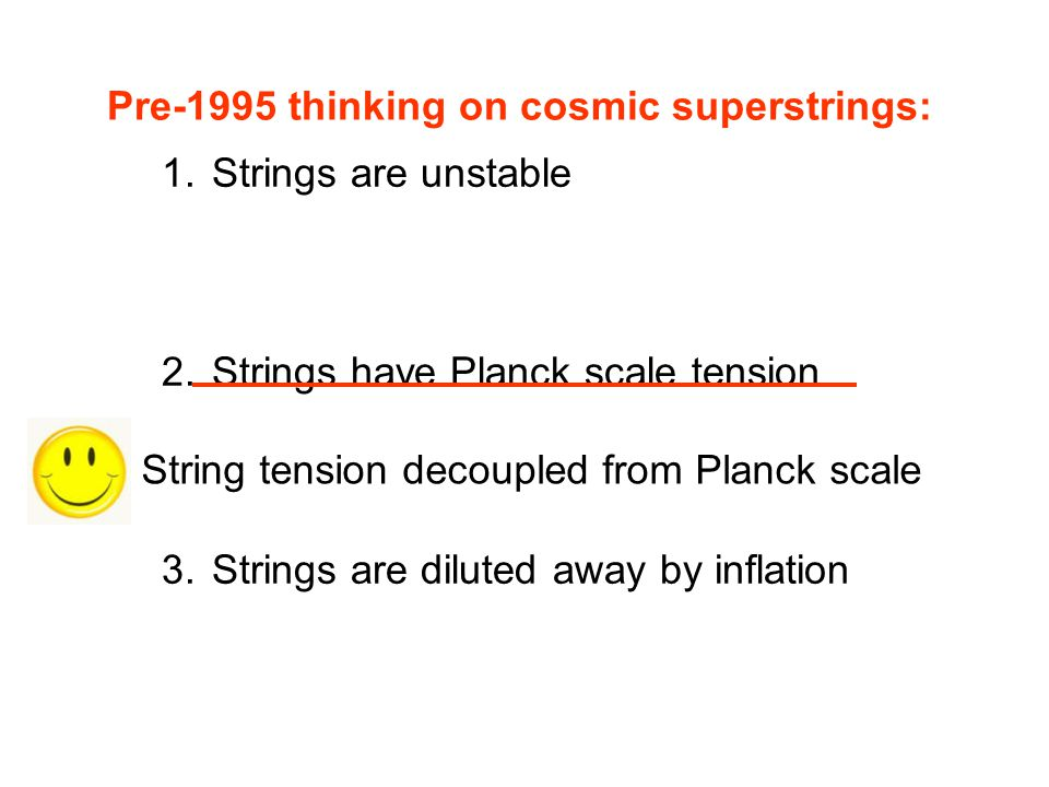 Pre-1995 thinking on cosmic superstrings: 1. Strings are unstable 2. Strings have Planck scale tension 3. Strings are diluted away by inflation String