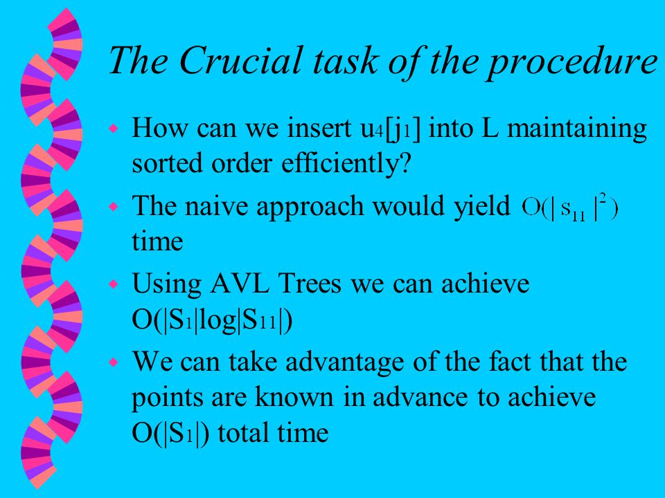 The Crucial task of the procedure w How can we insert u 4 [j 1 ] into L maintaining sorted order efficiently.