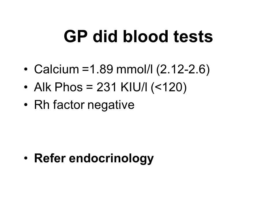 GP did blood tests Calcium =1.89 mmol/l (2.12-2.6) Alk Phos = 231 KIU/l (<120) Rh factor negative Refer endocrinology