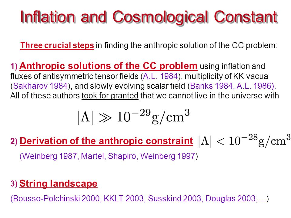Inflation and Cosmological Constant 1) Anthropic solutions of the CC problem using inflation and fluxes of antisymmetric tensor fields (A.L.