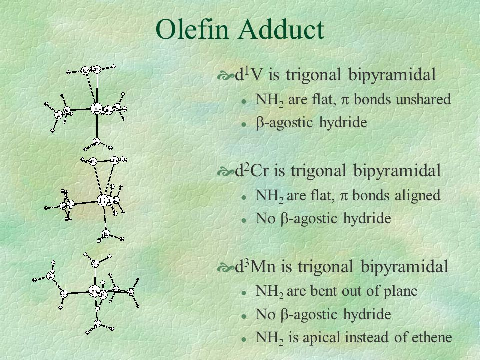 Olefin Adduct  d 1 V is trigonal bipyramidal NH 2 are flat,  bonds unshared  -agostic hydride  d 2 Cr is trigonal bipyramidal NH 2 are flat,  bonds aligned  -agostic hydride  d 3 Mn is trigonal bipyramidal l NH 2 are bent out of plane  -agostic hydride l NH 2 is apical instead of ethene